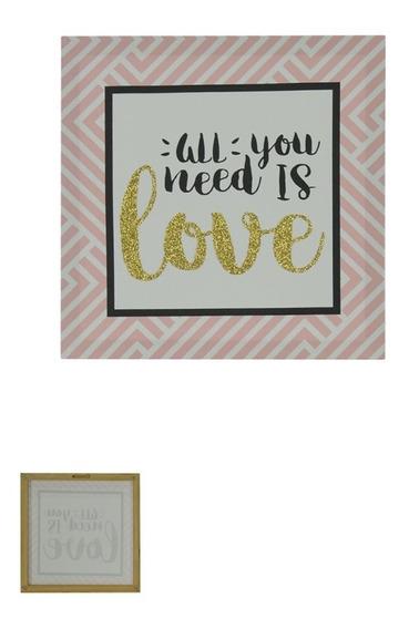 Quadro Decorativo Love Com Glitter 28x28cm Rosa - D