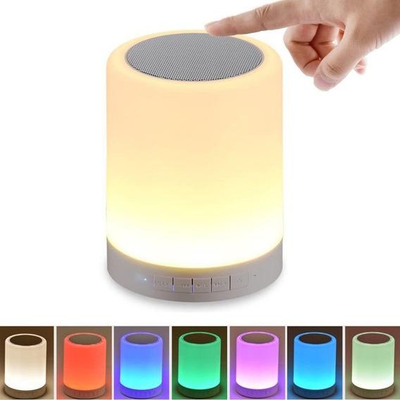 Bocina Bluetooth Y Lámpara De Mesa Led Recargable Touch