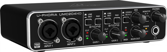 Interface De Audio Usb U-phoria Umc204hd - Behringer +nf