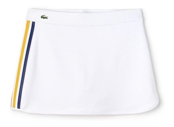 Falda Lacoste Para Jugar Tennis Short Integrado Blanco