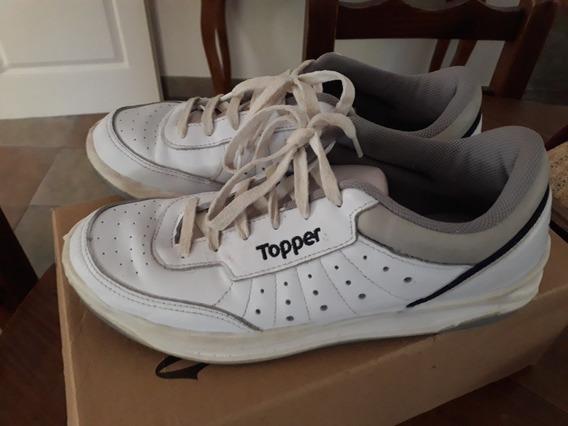 Zapatillas Topper De Cuero Blancas T. 39