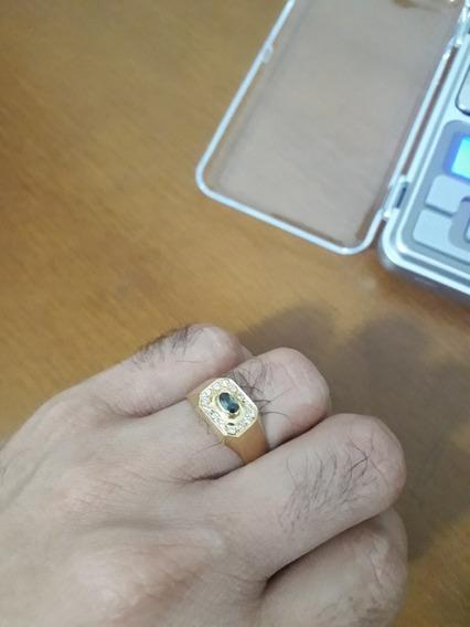Anel Masculino Em Ouro 18 K 750 Com Diamantes E Esmeralda
