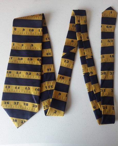 Corbata Color Azul Estampado Cinta De Medir Corb354