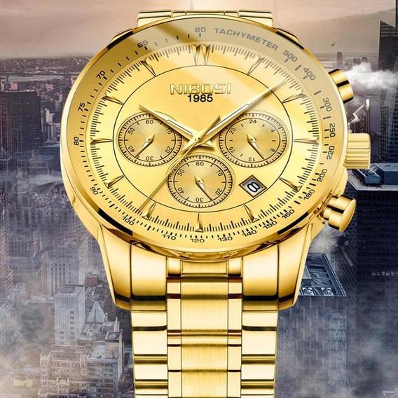 Relógio Masculino Nibosi 2357 Original Dourado Black Friday