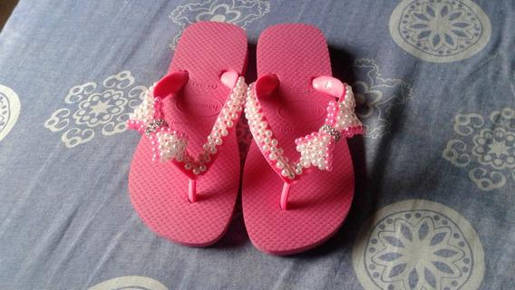 Chinelo Havaianas Bordado Infantil Rosa Num. 29/30