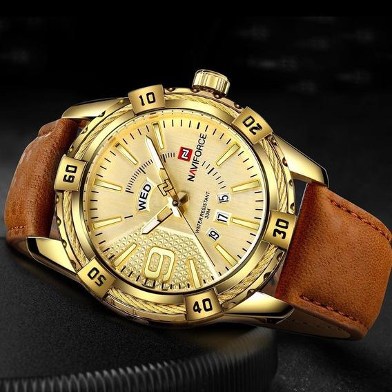 Relógio Naviforce Em Couro E Aço Inoxidável Dourado