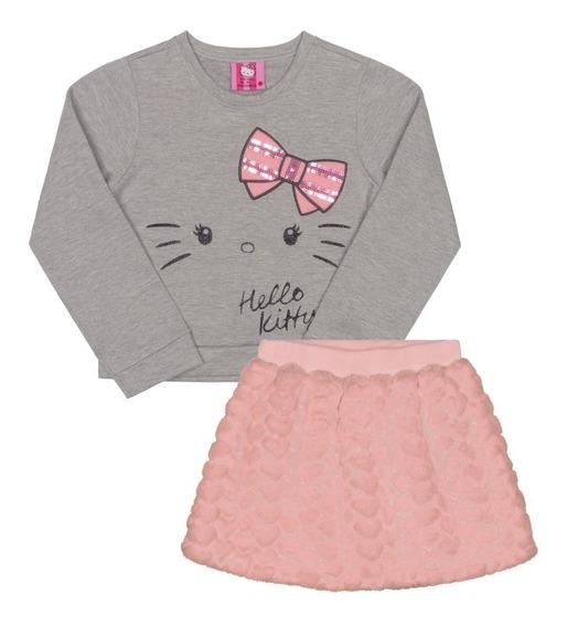 Conjunto Blusão E Saia Infantil Pelo Hello Kitty