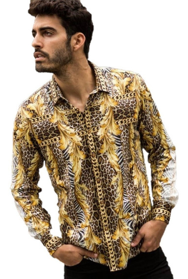 Camisa Barabas B285 Dorado Negro Impresión Digital Premium