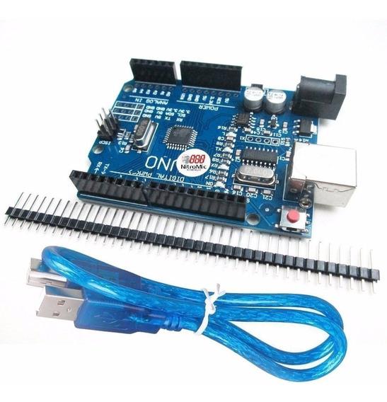 Arduino Uno R3 - Smd + Cabo Usb 50cm + Barra De Pinos