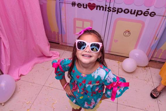 Óculos Infantil Doll Rosa Lente Escura