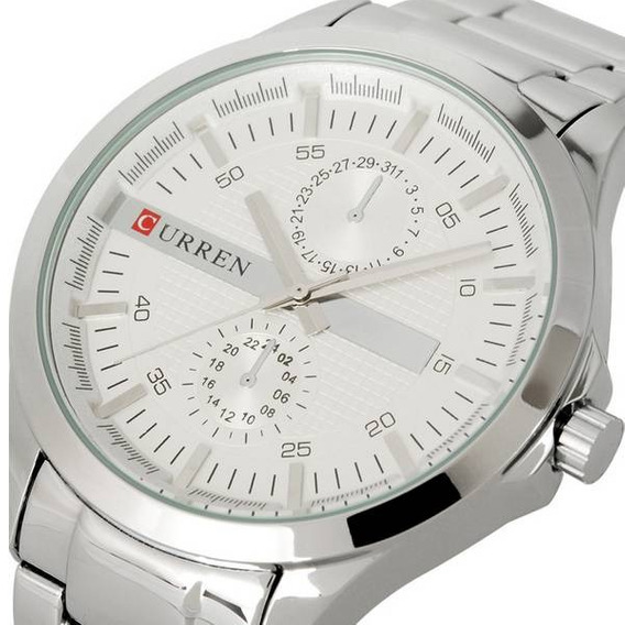 Relógio Social Masculino Curren 8128 Aço Inoxidável Prata