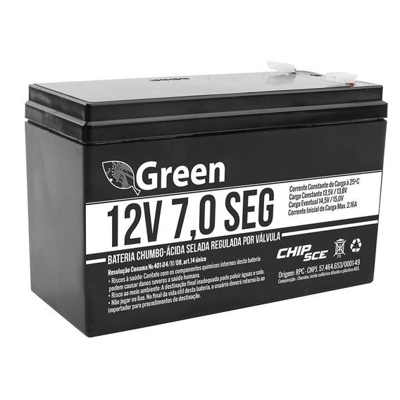 Bateria 12v 7,0 Selada Green Nobreak Alarme Cerca Elétrica