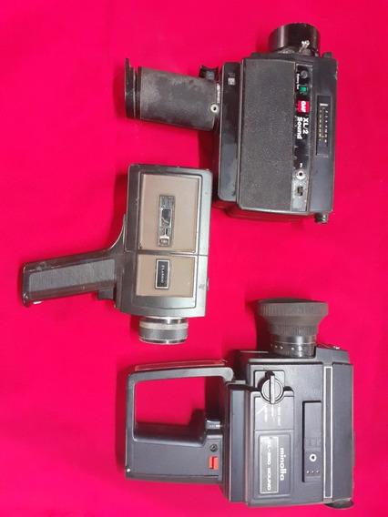 Lote Com 3 Filmadoras 8mm E Super 8 Minolta Chinon Gaf