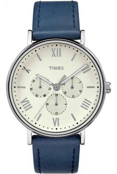 Reloj Timex Tw2r29200 Southview Piel Azul Multifunción