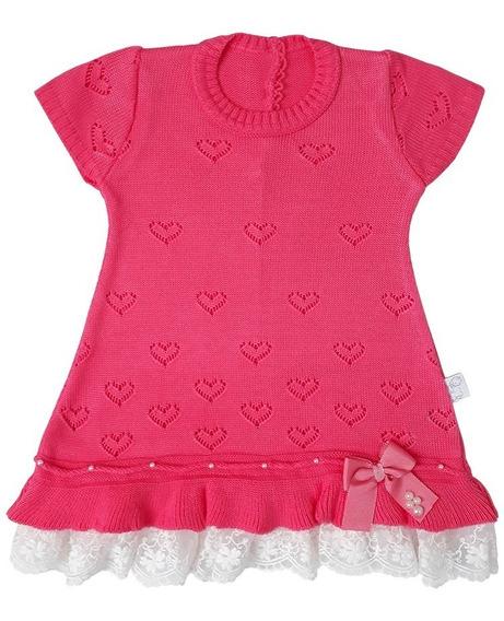 Vestido Bebê Menina Com Manga Coração E Renda - Tutti-frutti