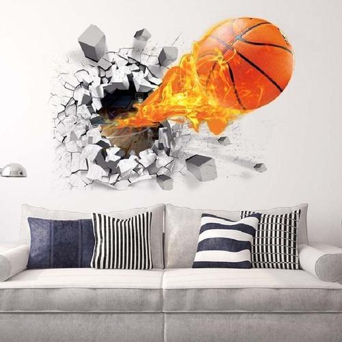 Vinilo Adhesivo Decorativo 3d Pelota Pared Basketball S9205