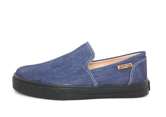 Tênis Slip On Quality Shoes 004 Jeans Escuro Sola Preta