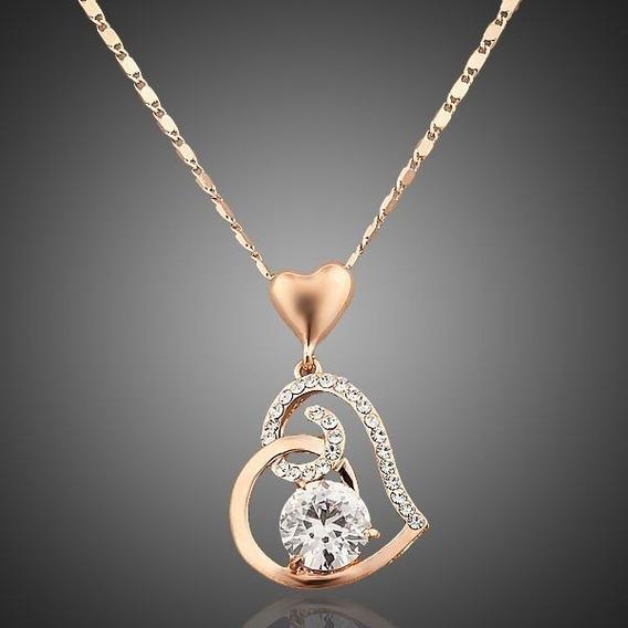 Collar Dije Corazón Swarovski Cristal Oro Laminado En Rosa