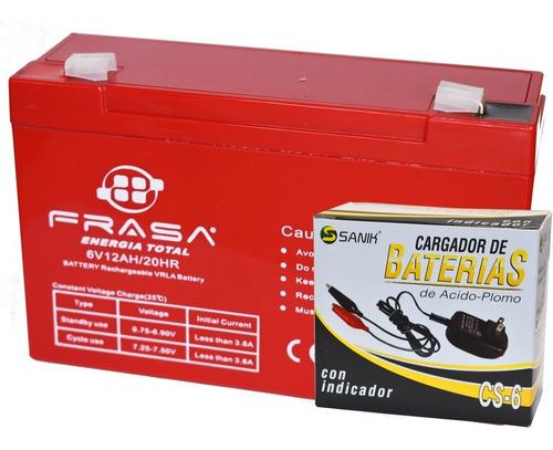 Kit Para Carro Montable 1 Pila De 6v - 12a Y Cargador Cs6