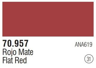 Tinta Flat Red 70957 Model Color Vallejo Modelismo