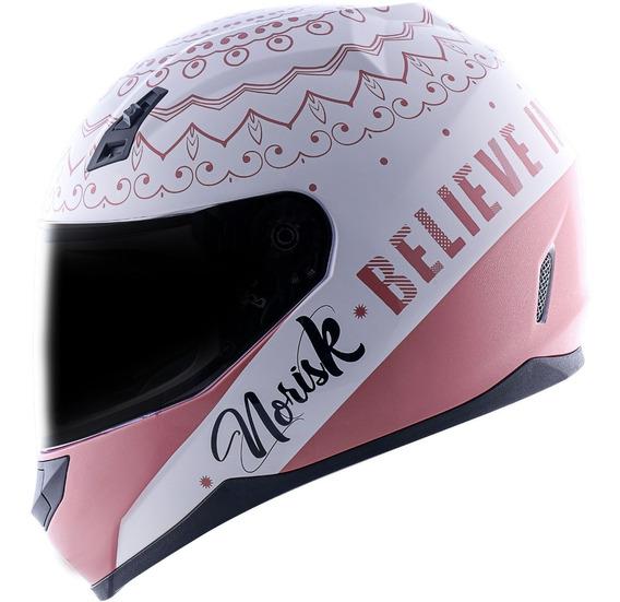 Capacete Norisk Feminino Ff391 Girl Power Branco Pink Rosa
