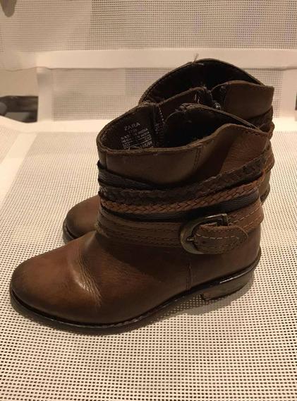 Zapatos Botitas Zara De Cuero Con Cierre