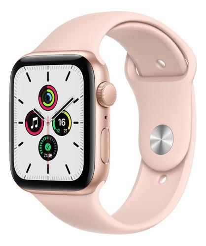 Imagen 1 de 9 de Apple Watch SE (GPS, 44mm) - Caja de aluminio color oro - Correa deportiva Rosa arena