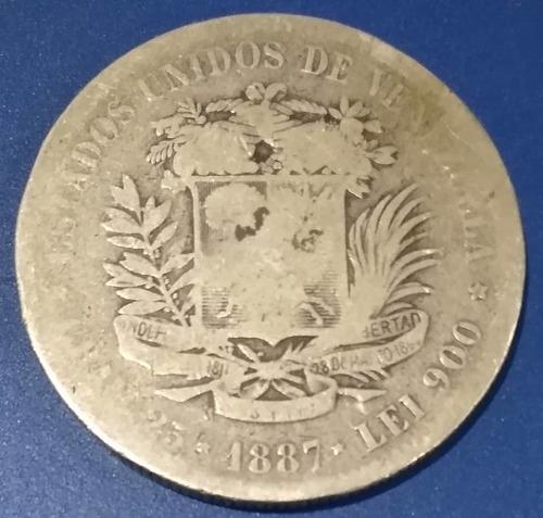 Moneda De 5 Bolívares De 1887 Fuerte De Plata