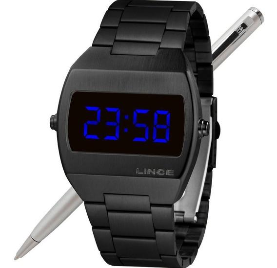 Relógio Lince Led Unissex Mdn4621l Dxpx Preto - Led Azul