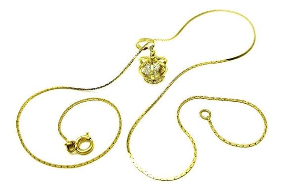 Cordão Pingente Coroa Zirconia Cristal Banhados De Ouro 4319