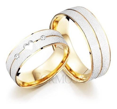 Par De Alianças Em Prata 950 Banhadas Ouro Modelo Exclusivo