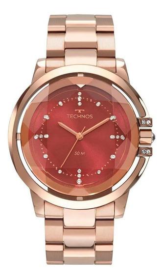 Relógio Feminino Rose Technos Vidro Lapidado Caixa Vazada+nf