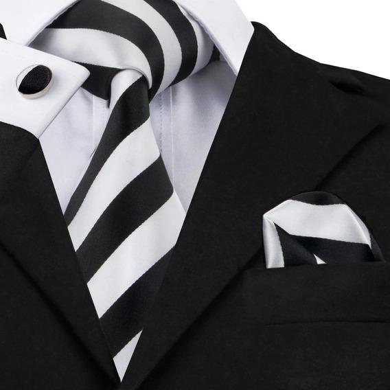 B276 Seda | Corbata Pañuelo Mancuernillas | Blanco Negro