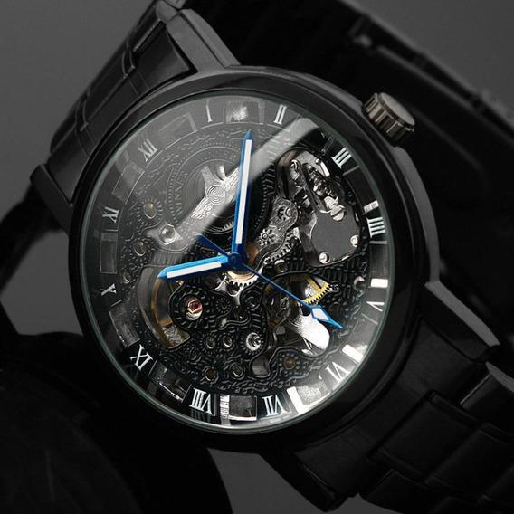 Reloj Esqueleto Lujo Para Hombre Winner Acero Inoxidable