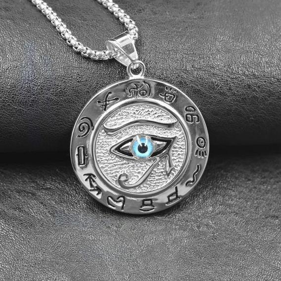 Corrente Pingente Olho De Horus Com Brinde Egípcio