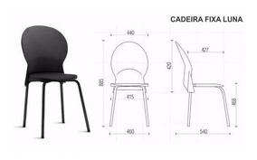 Cadeira Luna Fixa Assento E Encosto Em Polipropileno Preto