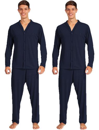 Imagem 1 de 2 de Kit 2 Pijamas Adulto Manga Comprida Calça Masculino Aberto