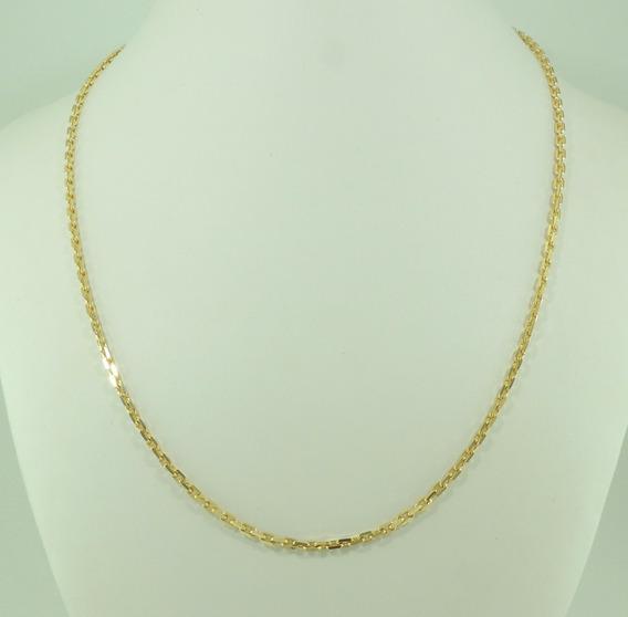 Corrente Cordão Cadeado Masculino Maciço 70cm Ouro 18k 750