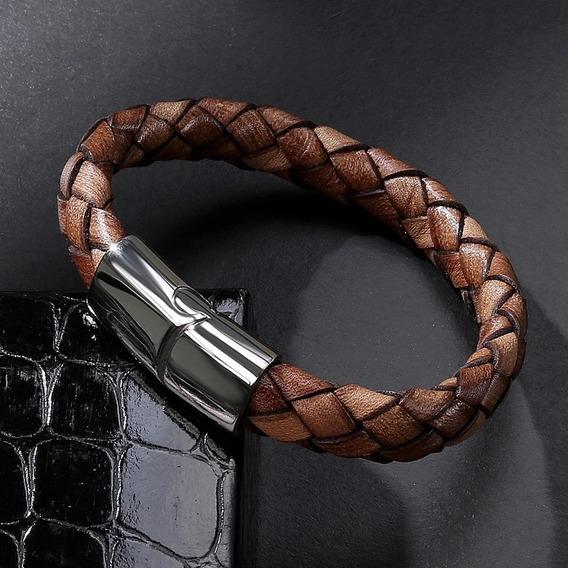 Bracelete Masculino Pulseira Couro Trançado Aço Inoxidavel