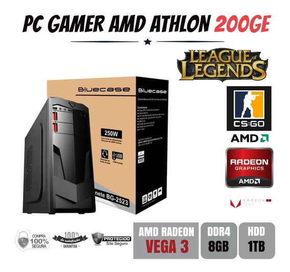 Pc Gamer Amd Athlon 200ge 8gb Ddr4 Vega 3 Apu Com Hdd 1tb
