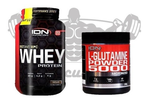 Combo Whey Protein 1 Kg + Glutamina 300 Grs Idn Nutrition!