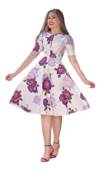 Vestido Evasê Rodado Neoprene Floral Midi Moda Evangélica