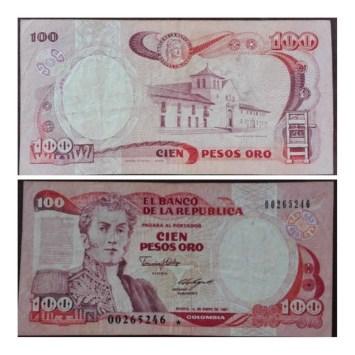 Imagen 1 de 1 de Billete  Reposicion De 100 Pesos Oro De 1.987.