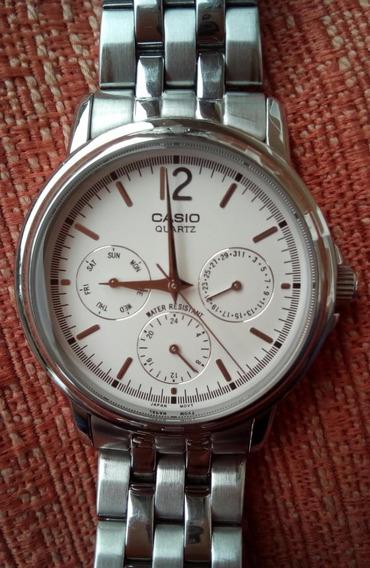 Relógio Analógico Casio Mtp-1174 Metal Prata/branco