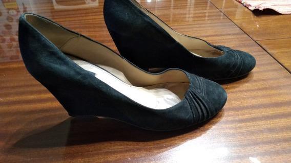 Zapatos Zara Gamuzados Negros Taco Chino Nro 37