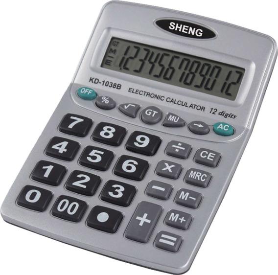 2 Calculadora De Mesa 12digitos Pilha Aaa Prata Hoopson Un
