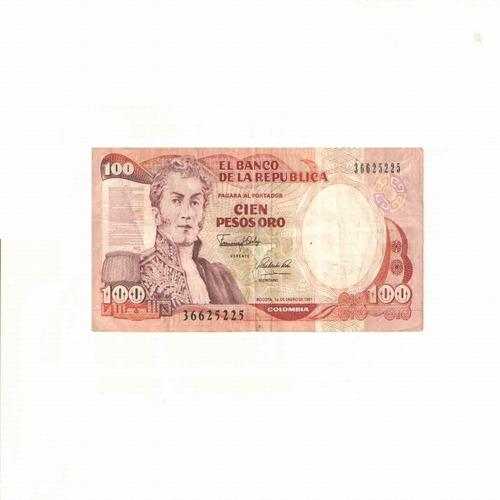Imagen 1 de 2 de Billete De 100 Pesos Oro De Colombia