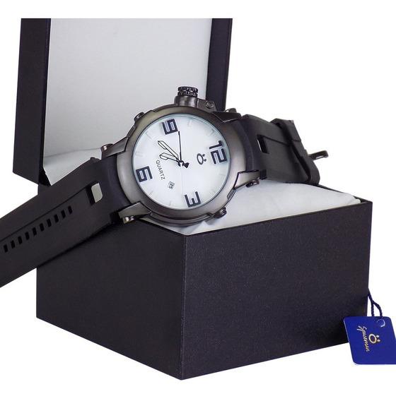 Relógio Masculino Preto Original Silicone Promoção + Caixa
