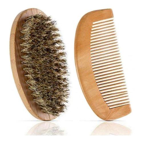 Kit Cepillo Y Peine Para Barba En Cerdas De Jabalí
