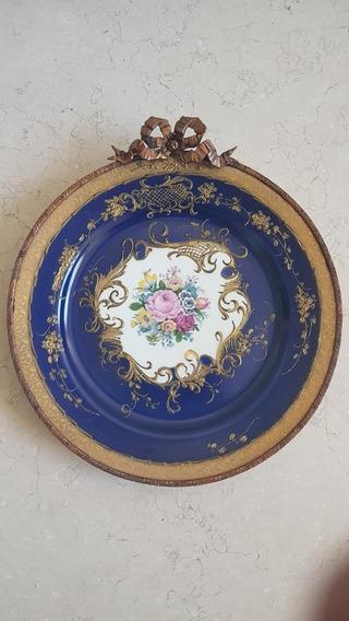 Plato Antiguo Porcelana Decorada Con Virola Limoges Francia